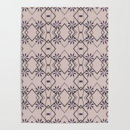 Blush Pink Purple Flower Patten Design Poster