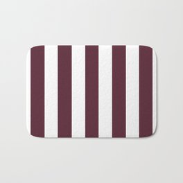 Light chocolate cosmos purple - solid color - white vertical lines pattern Bath Mat