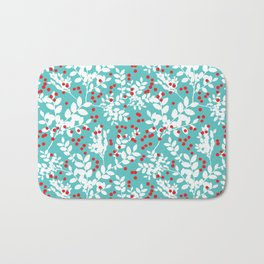 Red Berries and White Leaves Bath Mat