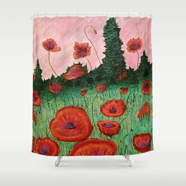 Fields of Red Shower Curtain