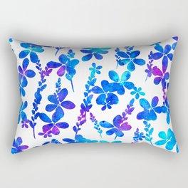 Mystic blue flowers & leaves Rectangular Pillow