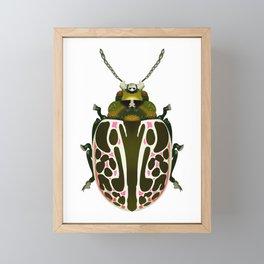 Green, White, Pink Beetle Framed Mini Art Print