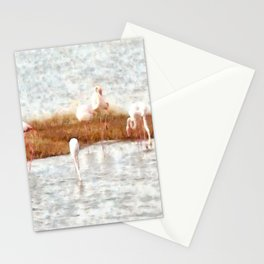 Seven Flamingos A Feeding Watercolor Stationery Cards