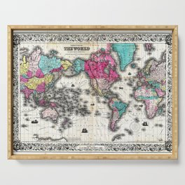 Vintage Map of The World (1852) - Stylized Serving Tray