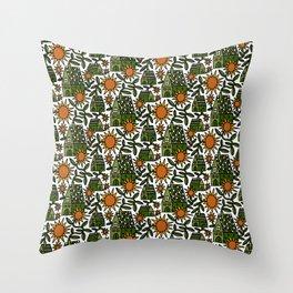 Sunflower City Throw Pillow