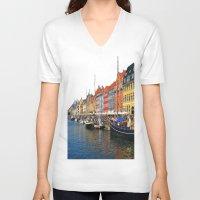 "copenhagen V-neck T-shirts featuring New Port ""Copenhagen"" by Alan Pary"