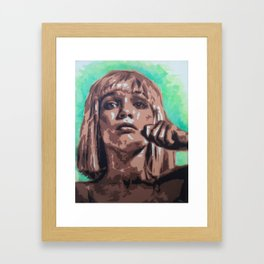 Sia`s Maddie stencil art and watercolor painting Framed Art Print