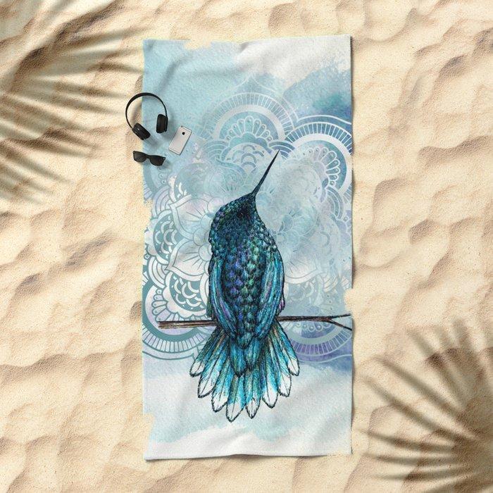 Aquarela hummingbird Beach Towel