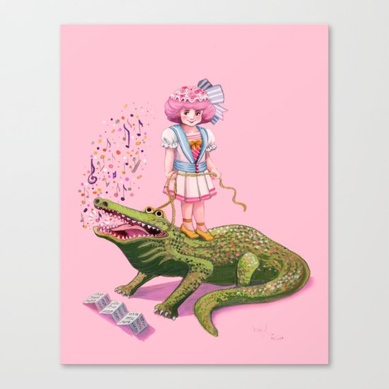 Dolores and her Crocodile Canvas Print