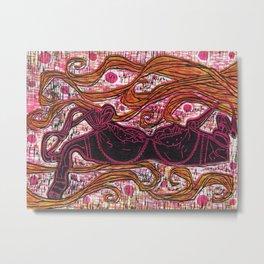 Girly Bra Woodcut Metal Print