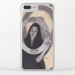 Realism Charcoal Drawing of Beautiful Woman with Antique Frame Clear iPhone Case