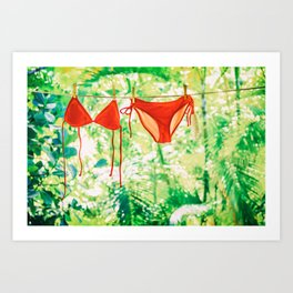 Red bikini hanging on clothes line drying. Art Print