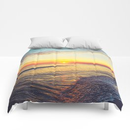 Summer Sunset Ocean Beach - Nature Photography Comforters