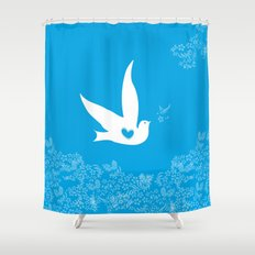 Love and Freedom - Blue Shower Curtain