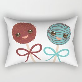 cute funny kawaii chocolate and blue Sweet Cake pops set with bow on white background Rectangular Pillow