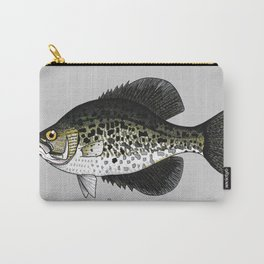 Poxomis nigromaculatus - Black Crappie in light grey Carry-All Pouch