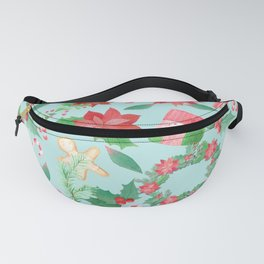 Merry Christmas Pattern (Blue Background) Fanny Pack