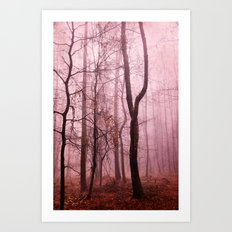 tree silhouettes in misty forest Art Print