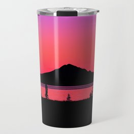 Pink Sunset Silhouette - Mt. Redoubt, Alaska Travel Mug