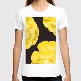 Large Yellow Succulent On Black Background #decor #society6 #buyart T-shirt
