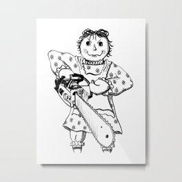 Raggedy Ann with a Chainsaw Metal Print