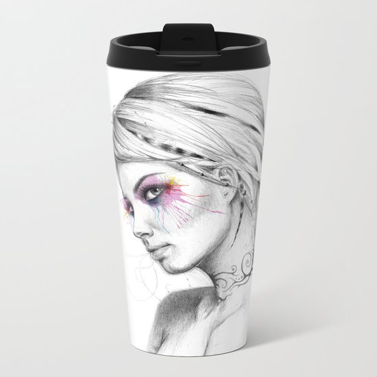 Beautiful Girl with Tattoos and Colorful Eyes Metal Travel Mug