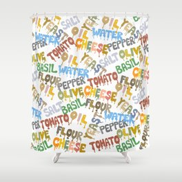 Margarita Pizza Recipe Food Lettering Shower Curtain