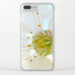 White Cherry Macro Photography Clear iPhone Case