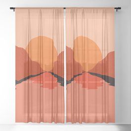 Abstraction_Sunset_Mountains_001 Sheer Curtain