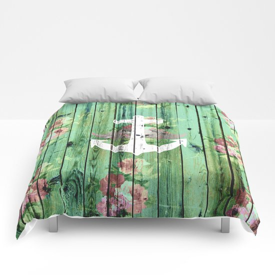 Vintage Floral Nautical Anchor Green Beach Wood Comforters