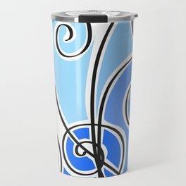 blue waves lines Travel Mug