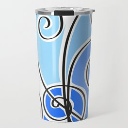 blue waves lines Travel Mug