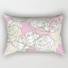 Line art minimal pastel rose petals Rectangular Pillow