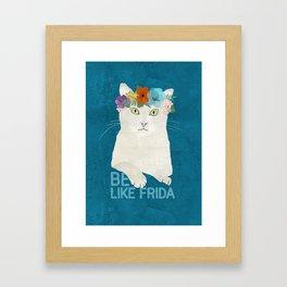 Be like Frida! White cat in flower crown on blue Framed Art Print