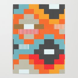 Colorful rectangles with dots Poster