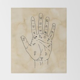 Palmistry Diagram - Palm Reading Chart - Palm Reading Guide Illustration Throw Blanket