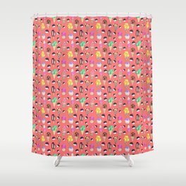Ice Cream Pattern-Coral Color Shower Curtain