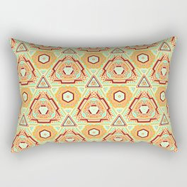Fiesta of Triangle Pyramid Floral Dots , Turquoise, Orange and Brown Mexican Style Rectangular Pillow