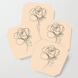 yellow rose line art Coaster