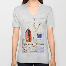 L'Aquila: door and window in a wall with cracks Unisex V-Neck