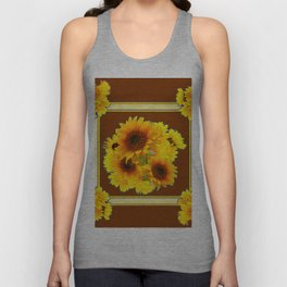 CHOCOLATE BROWN YELLOW SUNFLOWER BOUQUETS Unisex Tank Top