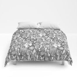 just chickens black white Comforters