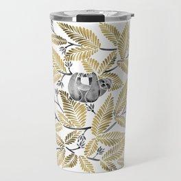 Happy Sloth – Tropical Gold Leaves Travel Mug