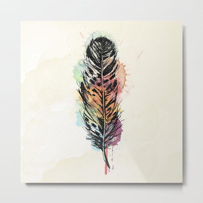 AP096 Watercolor feather Metal Print