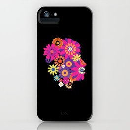Woman Face From Hippie Style Flowers iPhone Case