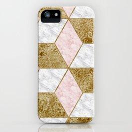 Dazzling marble geo - golden iPhone Case