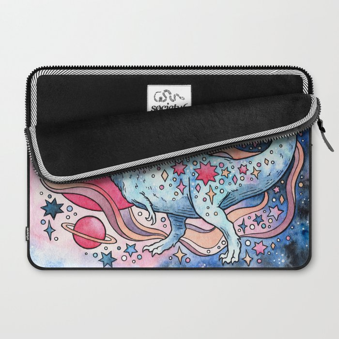 Star Rex   Cosmic Dinosaur Watercolor Laptop Sleeve
