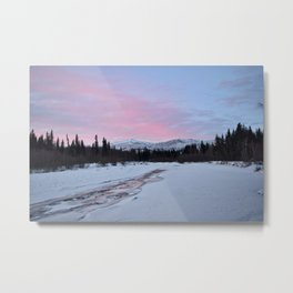 Pink Winter skies in Fairbanks Metal Print