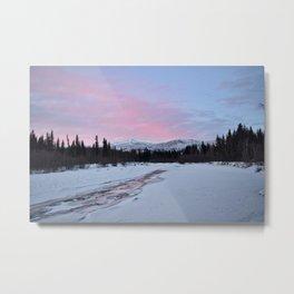 Pink Winter skies in Fairbanks Metal Print