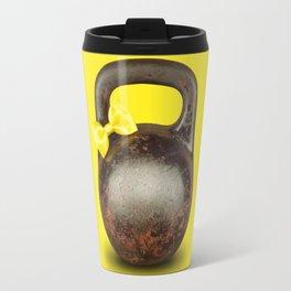 Funny large kettlebell with ribbon Travel Mug